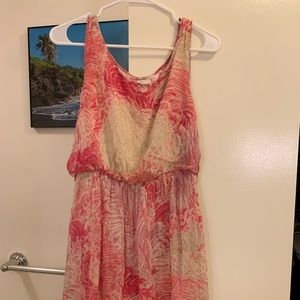 Anthropologie pink and cream summer dress